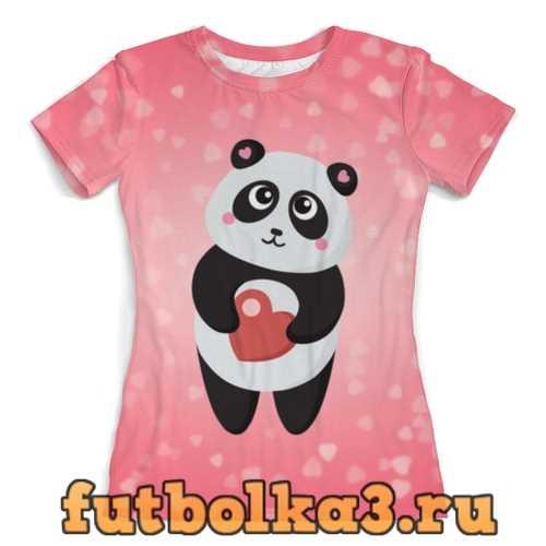 Футболка Панда с сердечком женская