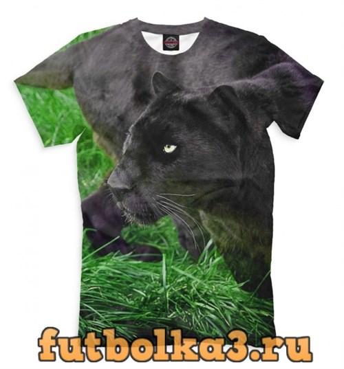 Футболка Пантера на траве мужская