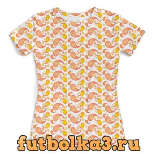 Футболка Пейсли с цветами, летний дизайн женская