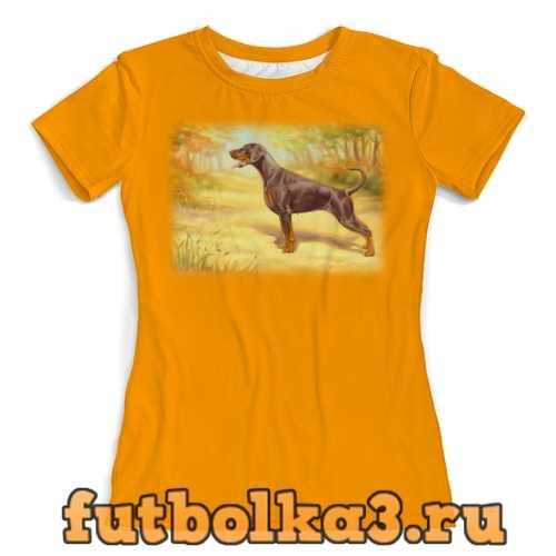 Футболка Пейзаж с доберманом женская