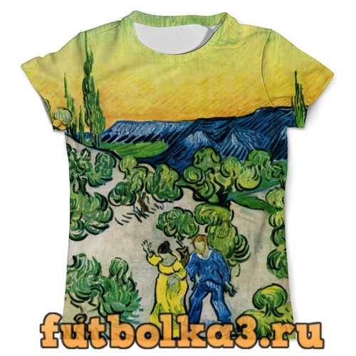 Футболка Пейзаж с прогуливающейся парой и полумесяцем мужская