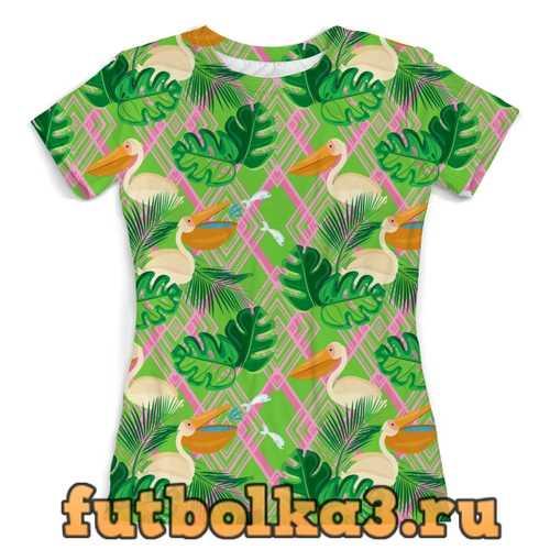 Футболка Пеликаны в листьях и абстракция женская