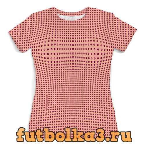 Футболка Персиковая в вишневый горошек женская
