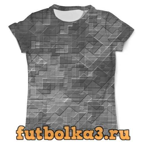 Футболка Пиксель-арт. Черно-белый паттерн мужская