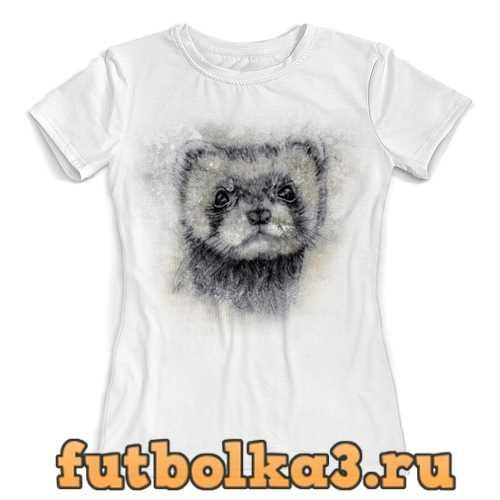 Футболка Рисунок животного хорька. женская
