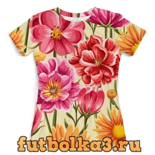 Футболка Садовые цветы женская