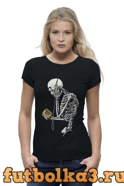 Футболка Скелет с плеером женская