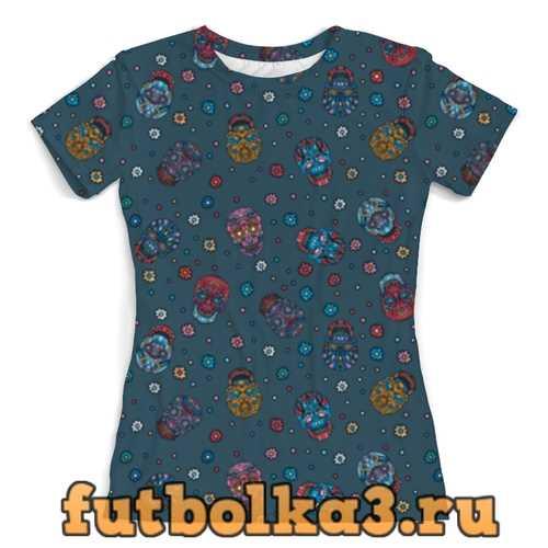 Футболка Цветочные черепа джинса женская