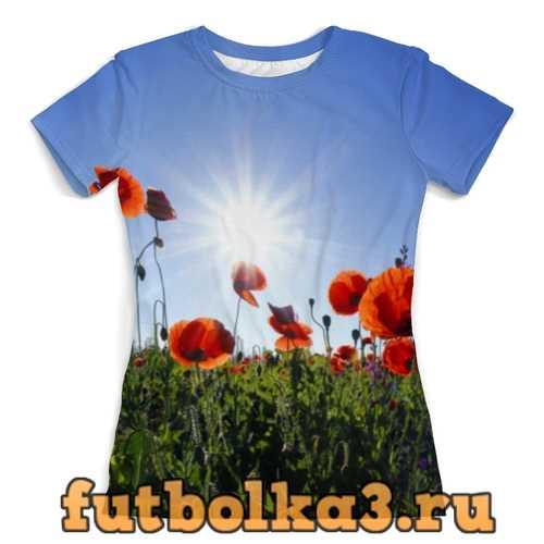 Футболка Цветы маки женская