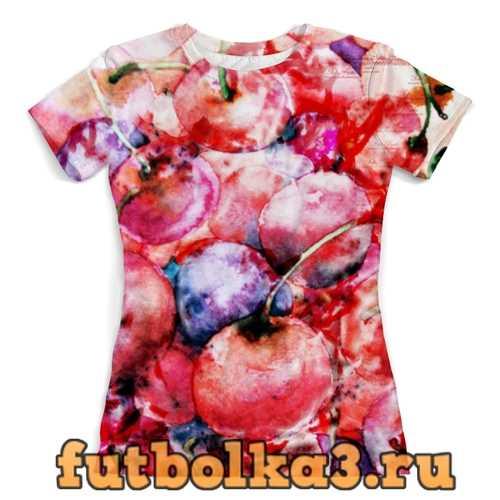 Футболка Вишня россыпью женская