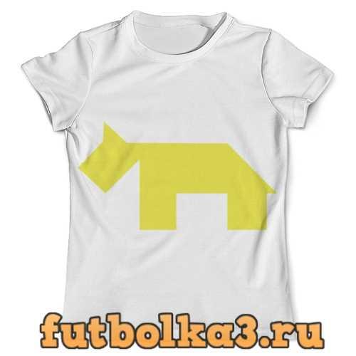 Футболка Жёлтая собака танграм мужская
