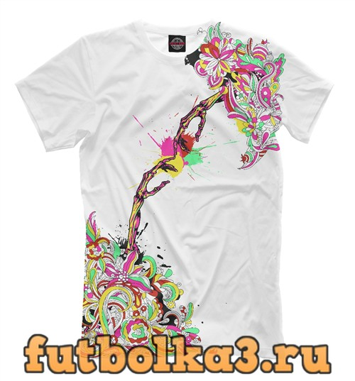 Футболка Colorful flowers and two skeletal hands мужская