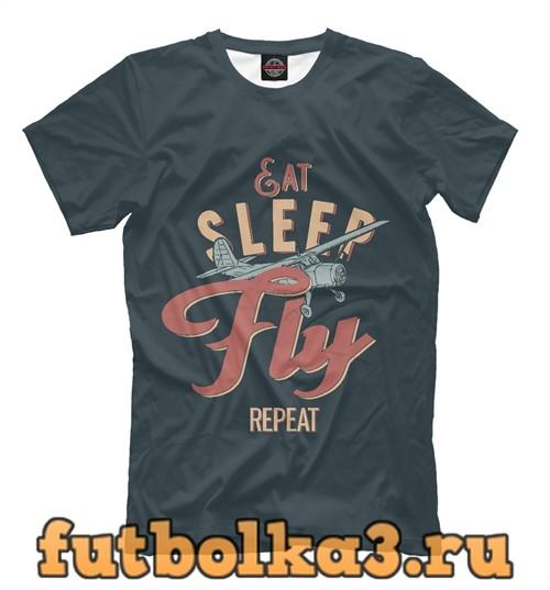 Футболка Ешь,спи,летай,повтори мужская