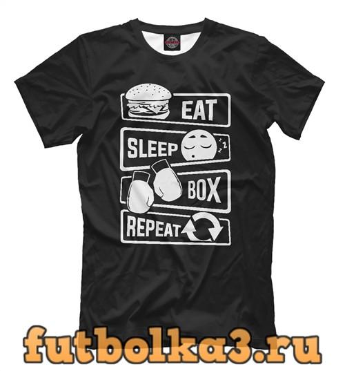 Футболка Есть, спать, бокс мужская
