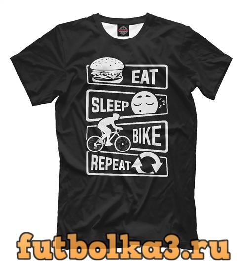 Футболка Есть, спать, велосипед мужская