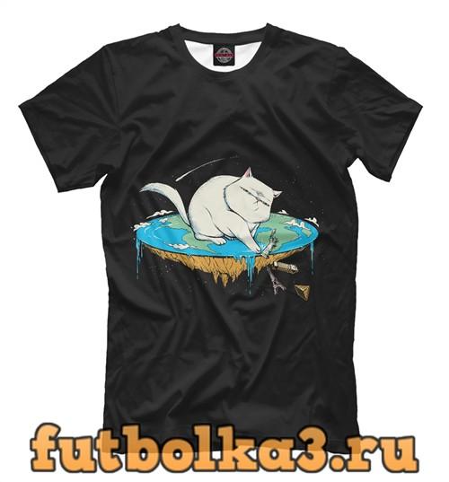 Футболка Flat earth cat мужская