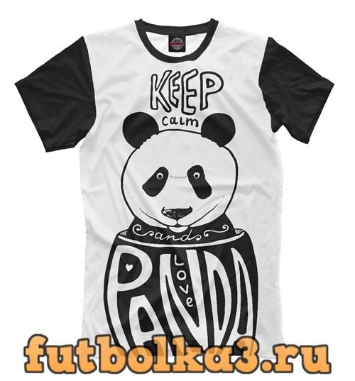 Футболка Keep calm and love panda мужская