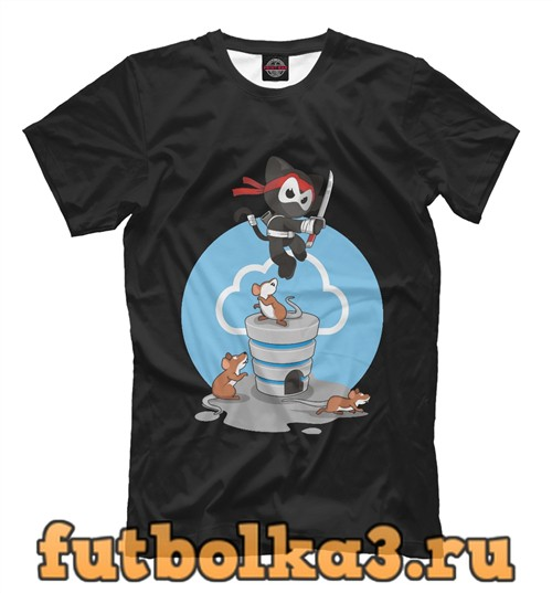 Футболка Ниндзя кот мужская