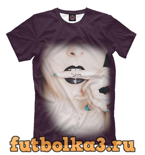 Футболка Палец зажатый зубами во рту у девушки мужская