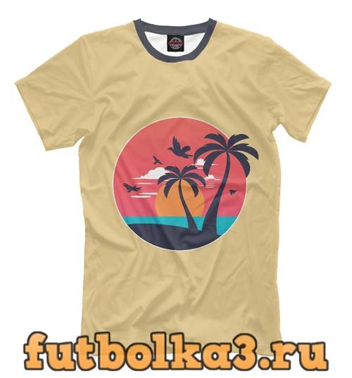 Футболка Пальмы и пляж мужская