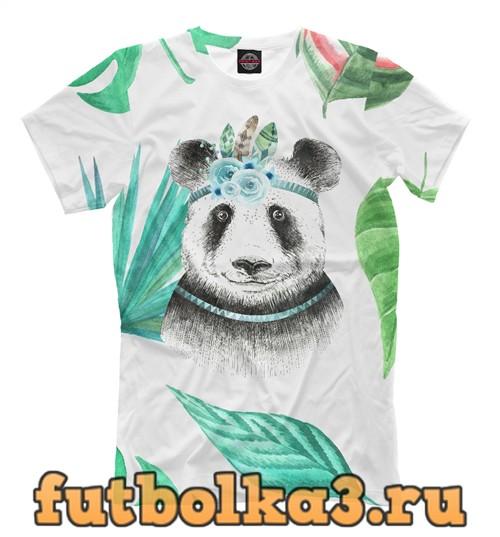 Футболка Панда и листья мужская