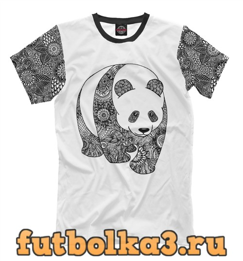 Футболка Панда и узор мужская