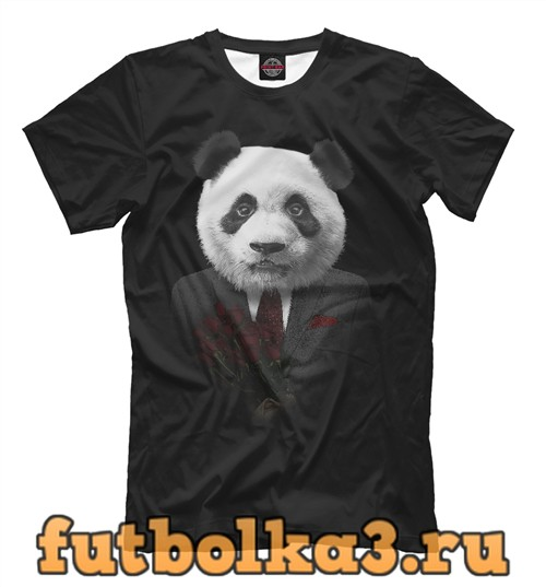 Футболка Панда с цветами мужская