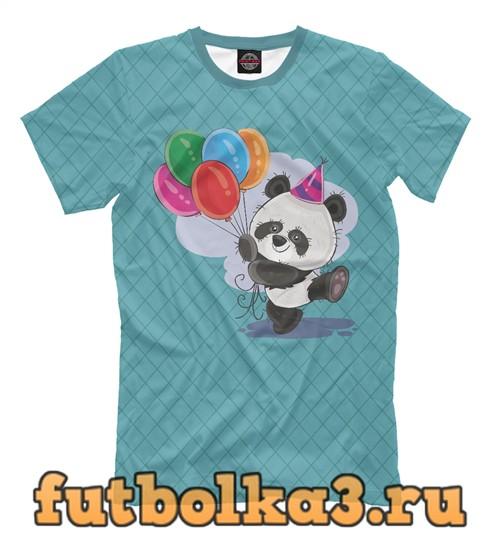 Футболка Панда с воздушными шариками мужская
