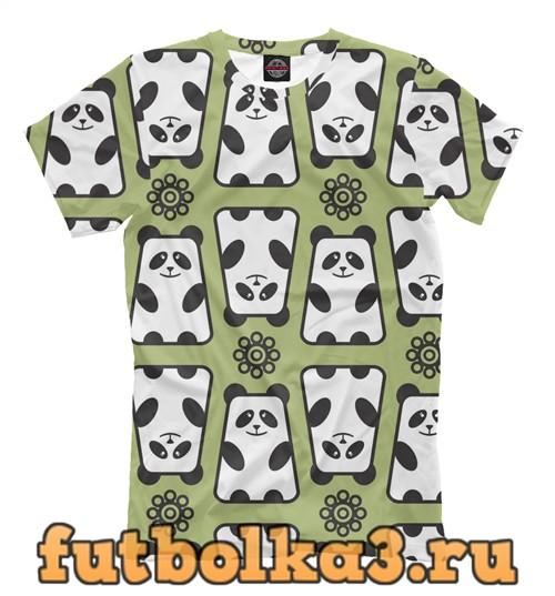 Футболка Панды на зеленом фоне мужская