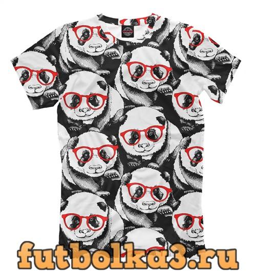 Футболка Панды в красных очках мужская