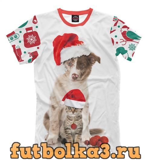 Футболка Пёс и кот в новый год мужская
