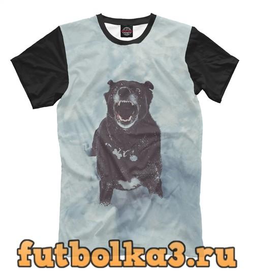 Футболка Пёс на снегу мужская