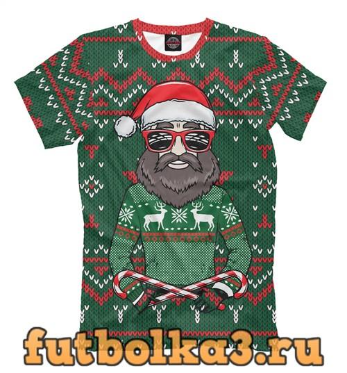 Футболка Санта хипстер в свитере мужская