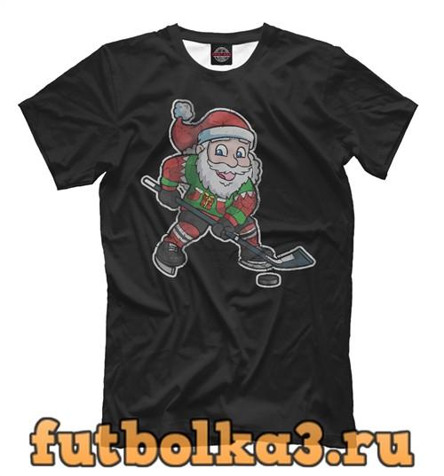Футболка Санта хоккеист мужская