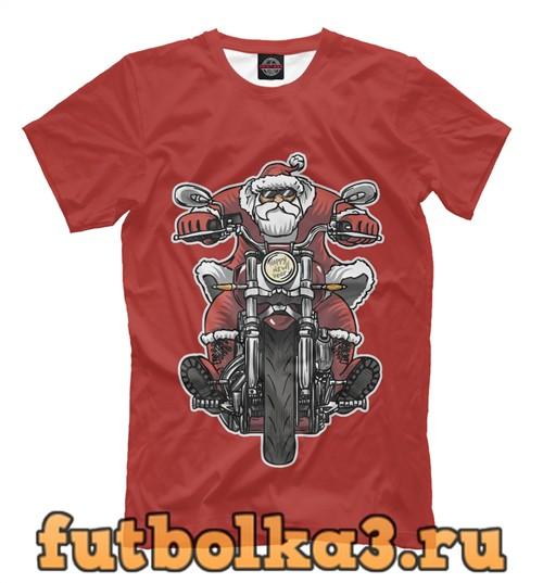 Футболка Санта на байке мужская