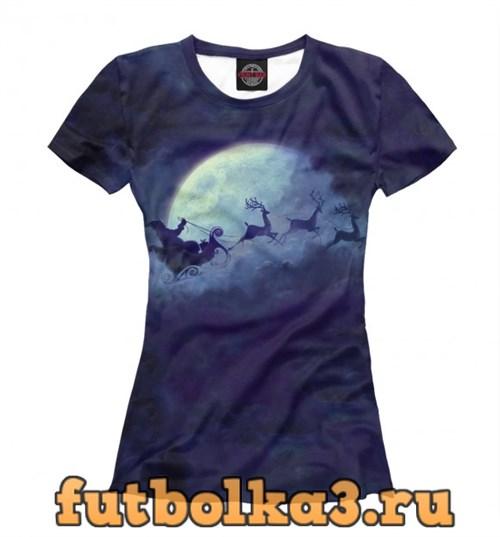 Футболка Санта на Луне женская