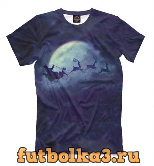 Футболка Санта на Луне мужская