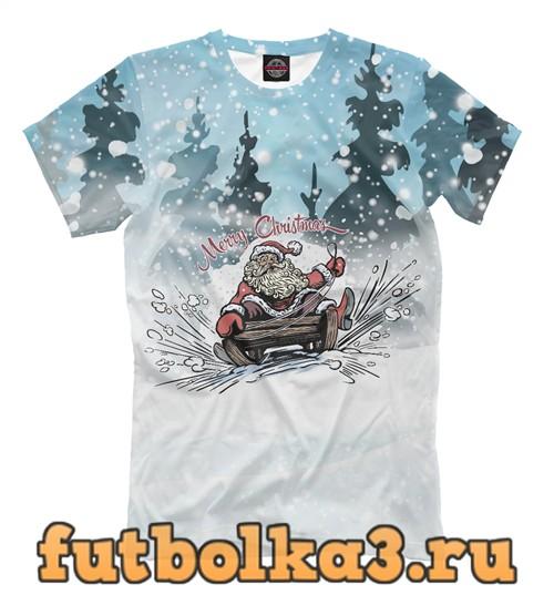 Футболка Санта на санях мужская