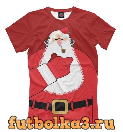 Футболка Санта показывает палец мужская