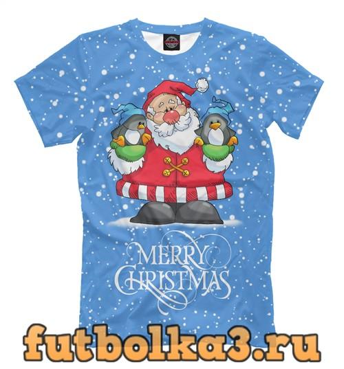 Футболка Санта с пингвинами мужская