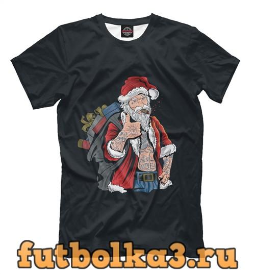 Футболка Санта в наколках мужская