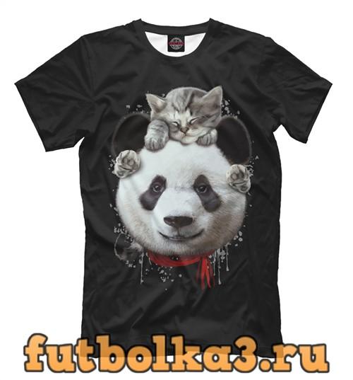 Футболка Панда и котенок мужская