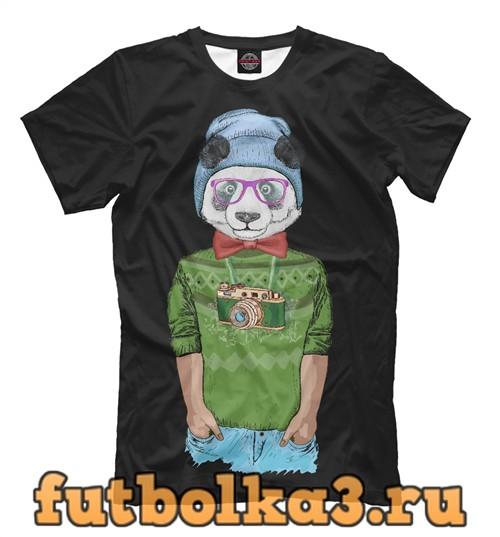 Футболка Панда в шляпке мужская