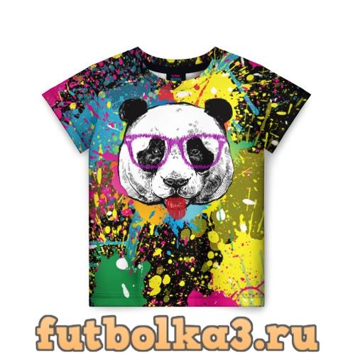 Футболка Панда хипстер в брызгах краски детская