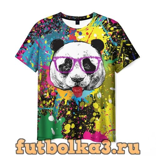 Футболка Панда хипстер в брызгах краски мужская