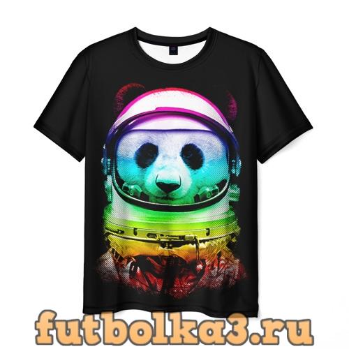 Футболка Панда космонавт мужская