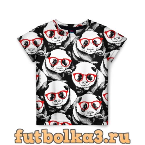 Футболка Панды в красных очках детская