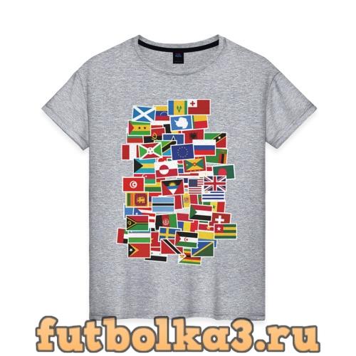 Футболка Flag sticker bombing женская