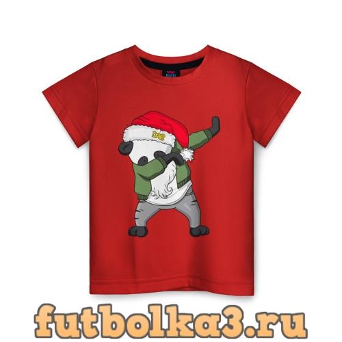 Футболка Панда дед мороз детская