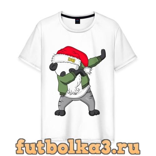 Футболка Панда дед мороз мужская
